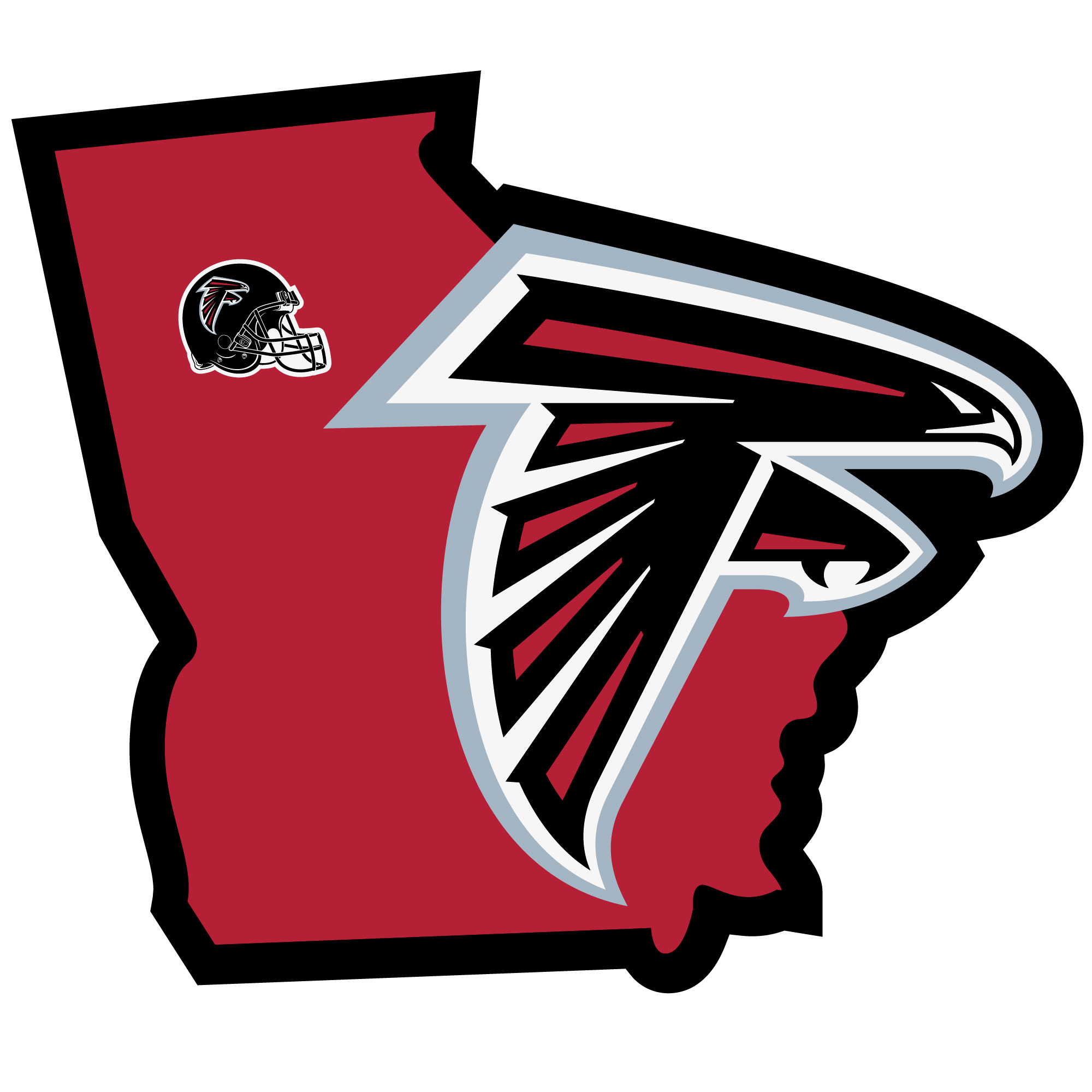 Atlanta Falcons Home State Decal - It's a home state decal with a sporty twist! This Atlanta Falcons decal feature the team logo over a silhouette of the state in team colors and a heart marking the home of the team. The decal is approximately 5 inches on repositionable vinyl.