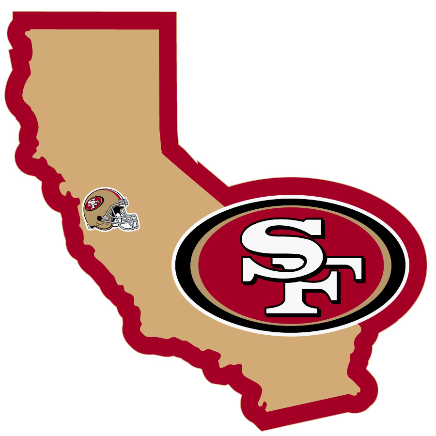 San Francisco 49ers Home State Decal - It's a home state decal with a sporty twist! This San Francisco 49ers decal feature the team logo over a silhouette of the state in team colors and a heart marking the home of the team. The decal is approximately 5 inches on repositionable vinyl.