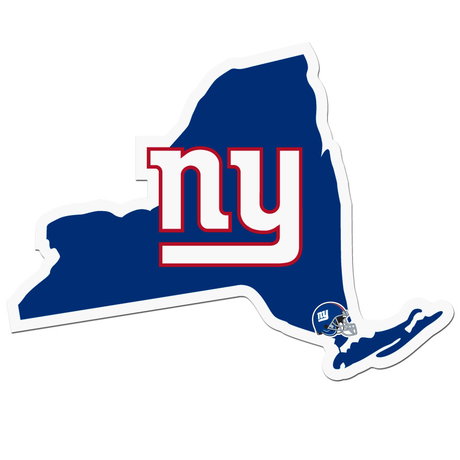 New York Giants Home State Decal - It's a home state decal with a sporty twist! This New York Giants decal feature the team logo over a silhouette of the state in team colors and a heart marking the home of the team. The decal is approximately 5 inches on repositionable vinyl.
