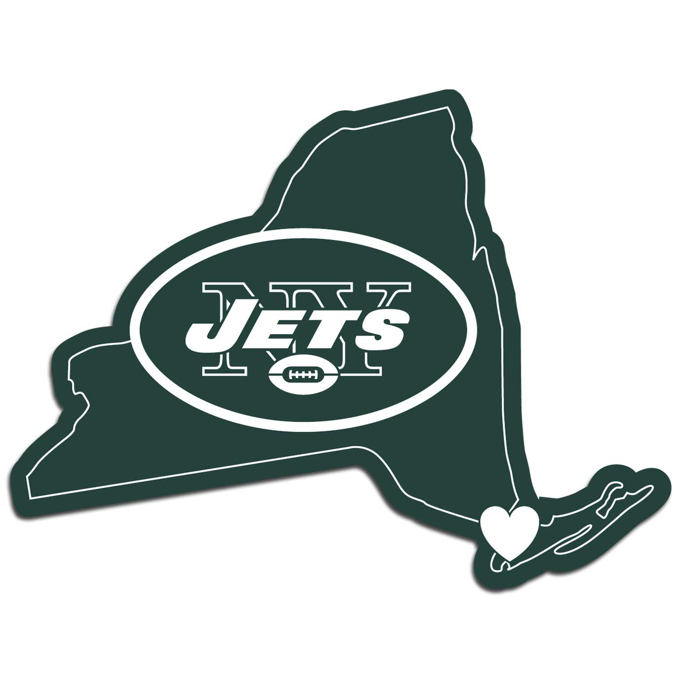 New York Jets Home State Decal - It's a home state decal with a sporty twist! This New York Jets decal feature the team logo over a silhouette of the state in team colors and a heart marking the home of the team. The decal is approximately 5 inches on repositionable vinyl.