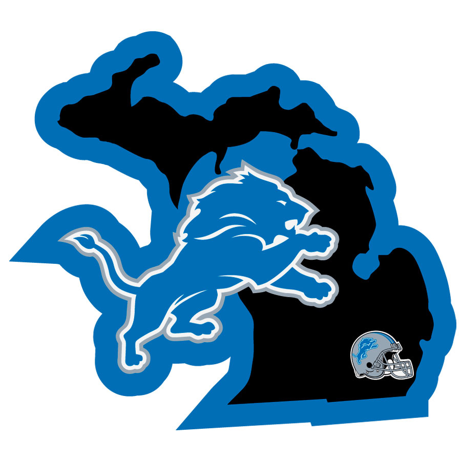 Detroit Lions Home State Decal - It's a home state decal with a sporty twist! This Detroit Lions decal feature the team logo over a silhouette of the state in team colors and a heart marking the home of the team. The decal is approximately 5 inches on repositionable vinyl.