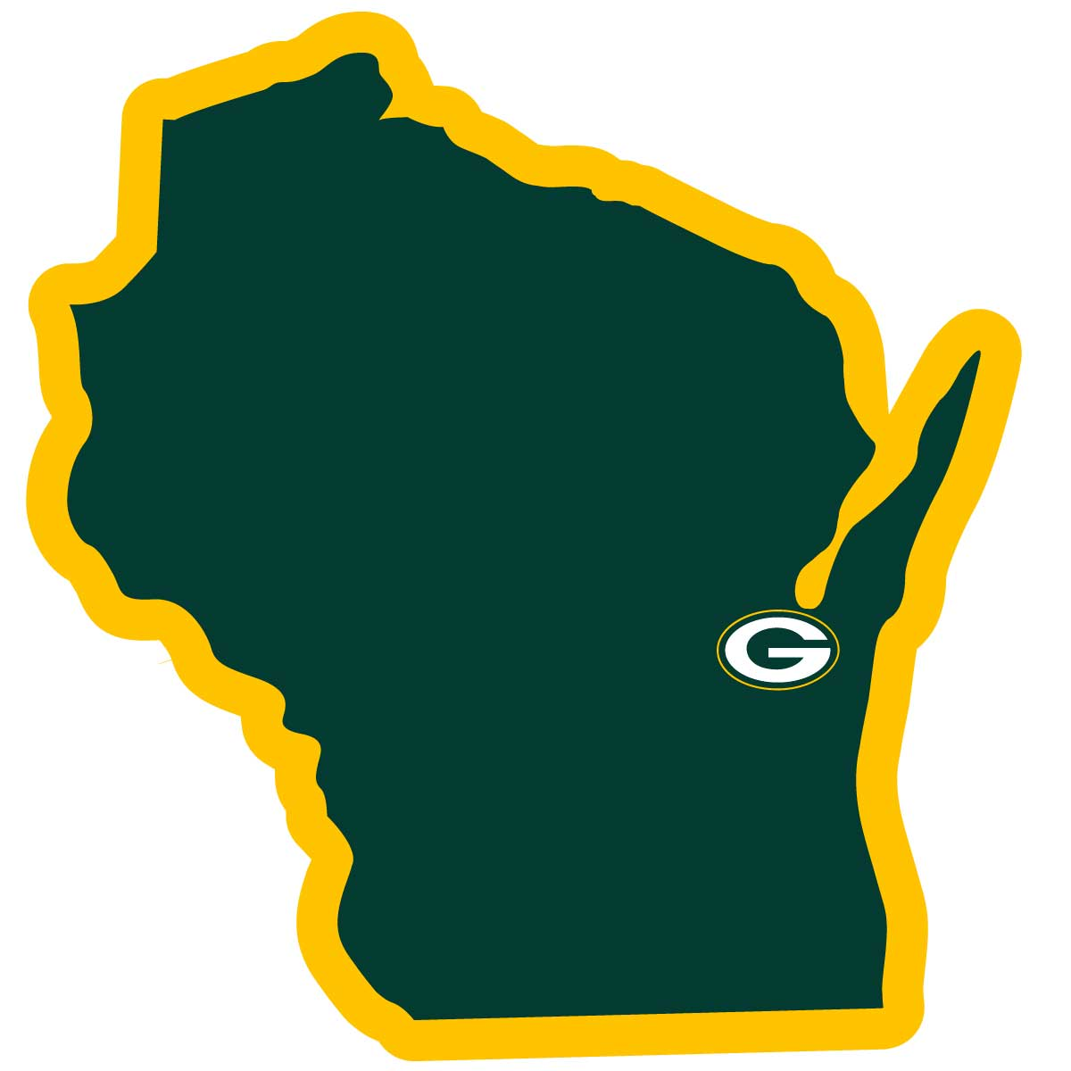 Green Bay Packers Home State Decal - It's a home state decal with a sporty twist! This Green Bay Packers decal feature the team logo over a silhouette of the state in team colors and a heart marking the home of the team. The decal is approximately 5 inches on repositionable vinyl.