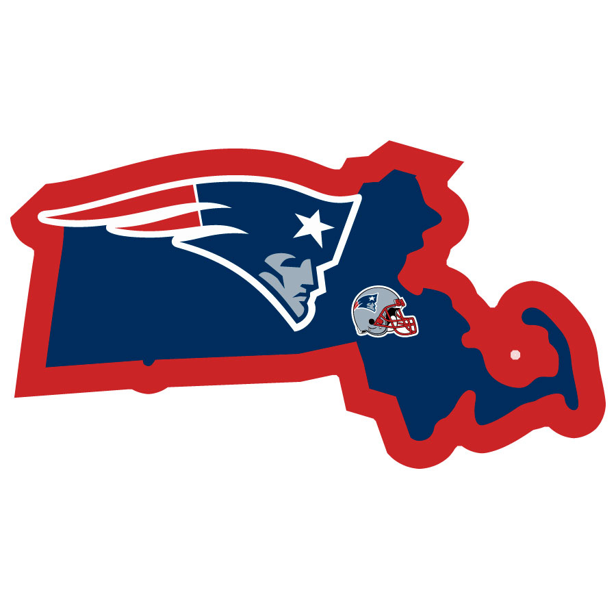 New England Patriots Home State Decal - It's a home state decal with a sporty twist! This New England Patriots decal feature the team logo over a silhouette of the state in team colors and a heart marking the home of the team. The decal is approximately 5 inches on repositionable vinyl.