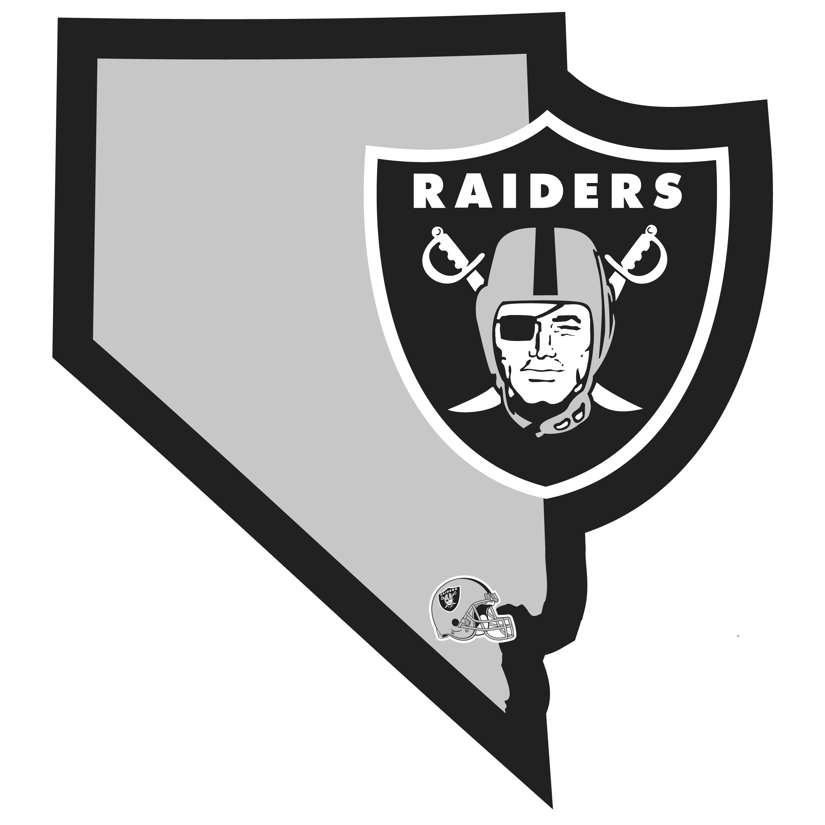 Oakland Raiders Home State Decal - It's a home state decal with a sporty twist! This Oakland Raiders decal feature the team logo over a silhouette of the state in team colors and a heart marking the home of the team. The decal is approximately 5 inches on repositionable vinyl.