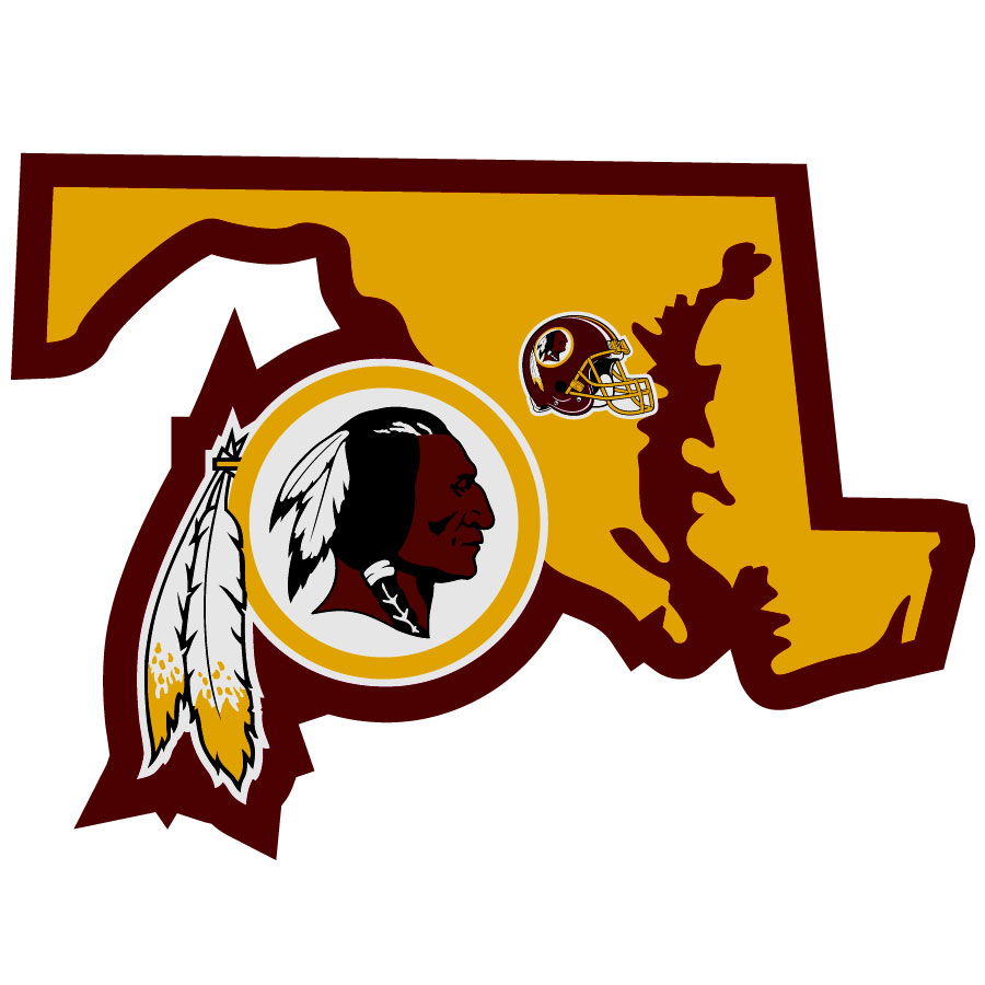 Washington Redskins Home State Decal - It's a home state decal with a sporty twist! This Washington Redskins decal feature the team logo over a silhouette of the state in team colors and a heart marking the home of the team. The decal is approximately 5 inches on repositionable vinyl.