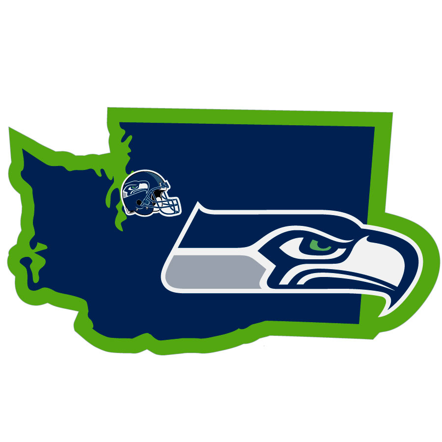 Seattle Seahawks Home State Decal - It's a home state decal with a sporty twist! This Seattle Seahawks decal feature the team logo over a silhouette of the state in team colors and a heart marking the home of the team. The decal is approximately 5 inches on repositionable vinyl.
