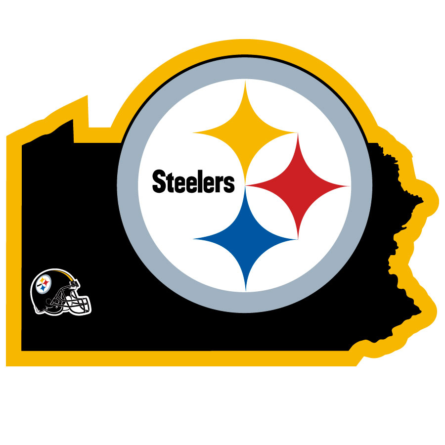 Pittsburgh Steelers Home State Decal - It's a home state decal with a sporty twist! This Pittsburgh Steelers decal feature the team logo over a silhouette of the state in team colors and a heart marking the home of the team. The decal is approximately 5 inches on repositionable vinyl.