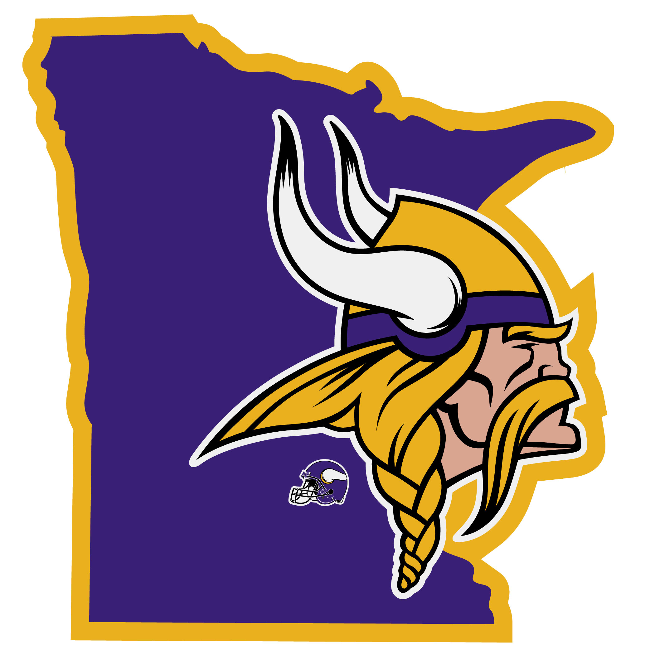 Minnesota Vikings Home State Decal - It's a home state decal with a sporty twist! This Minnesota Vikings decal feature the team logo over a silhouette of the state in team colors and a heart marking the home of the team. The decal is approximately 5 inches on repositionable vinyl.