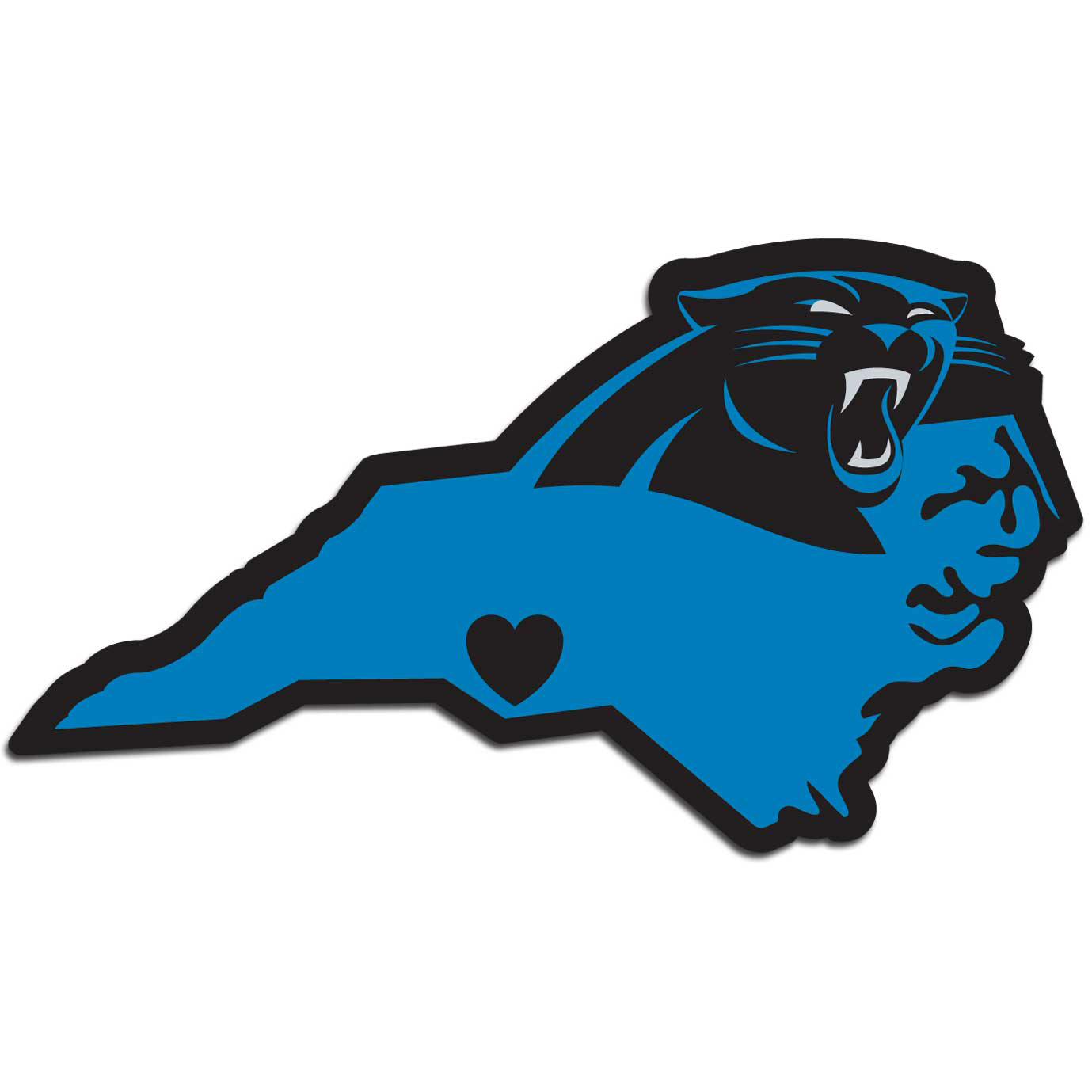 Carolina Panthers Home State Decal - It's a home state decal with a sporty twist! This Carolina Panthers decal feature the team logo over a silhouette of the state in team colors and a heart marking the home of the team. The decal is approximately 5 inches on repositionable vinyl.