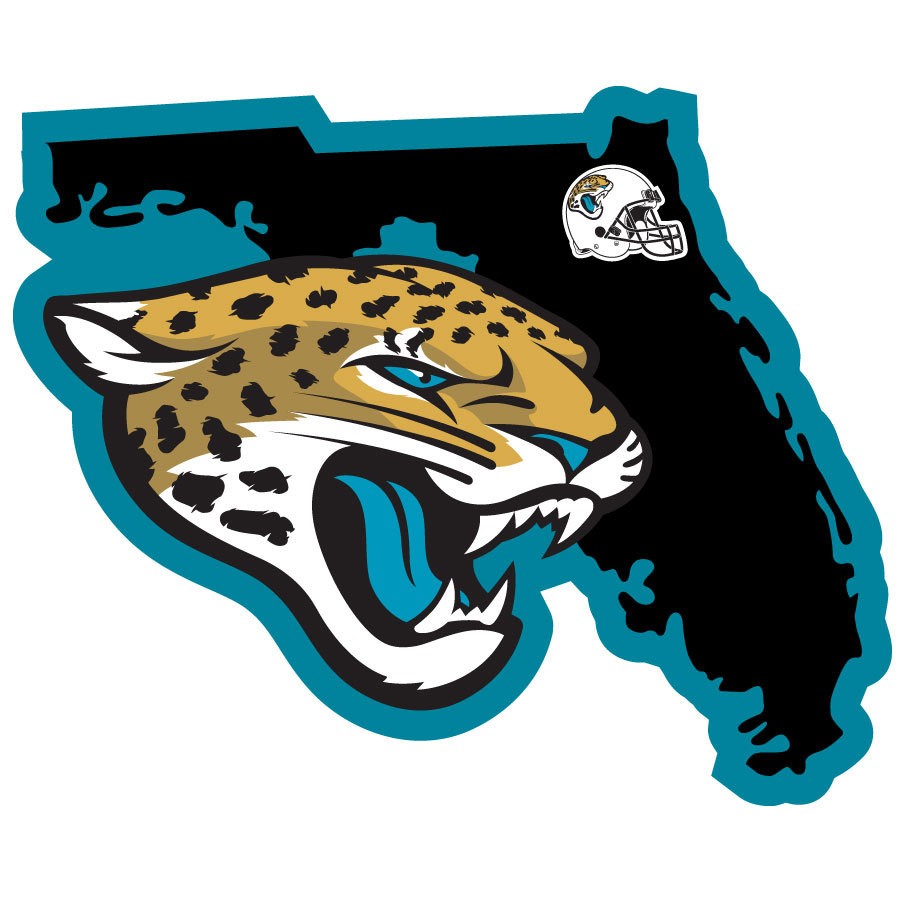 Jacksonville Jaguars Home State Decal - It's a home state decal with a sporty twist! This Jacksonville Jaguars decal feature the team logo over a silhouette of the state in team colors and a heart marking the home of the team. The decal is approximately 5 inches on repositionable vinyl.