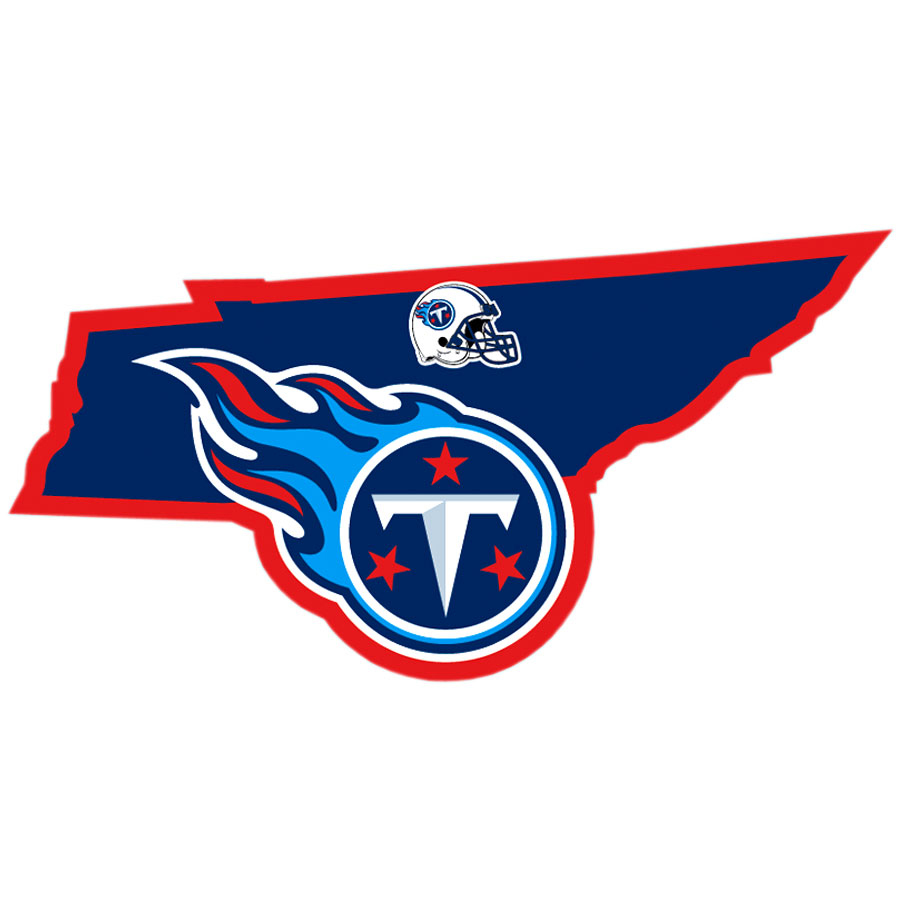 Tennessee Titans Home State Decal - It's a home state decal with a sporty twist! This Tennessee Titans decal feature the team logo over a silhouette of the state in team colors and a heart marking the home of the team. The decal is approximately 5 inches on repositionable vinyl.