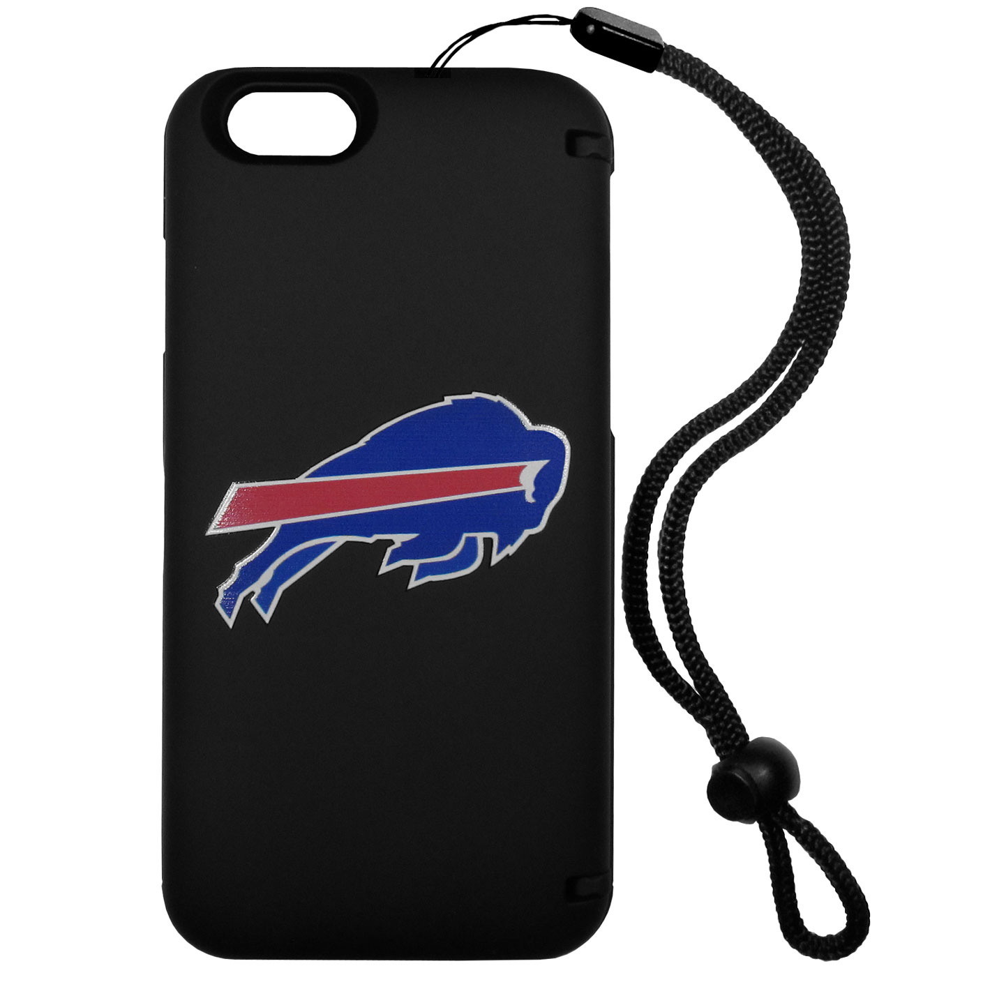 Buffalo Bills iPhone 6 Everything Case - This case really does have everything but the kitchen sink! The hidden compartment lets you keep your cards, money and tickets to the big game safe and secure and has a compact mirror so you can make sure your game face is ready to go. It also comes with a kickstand to make chatting and watching videos a breeze. The wrist strap allows you to travel with ease with your everything case. If that's not enough, it also comes with the Buffalo Bills logo printed in expert detail on the front.