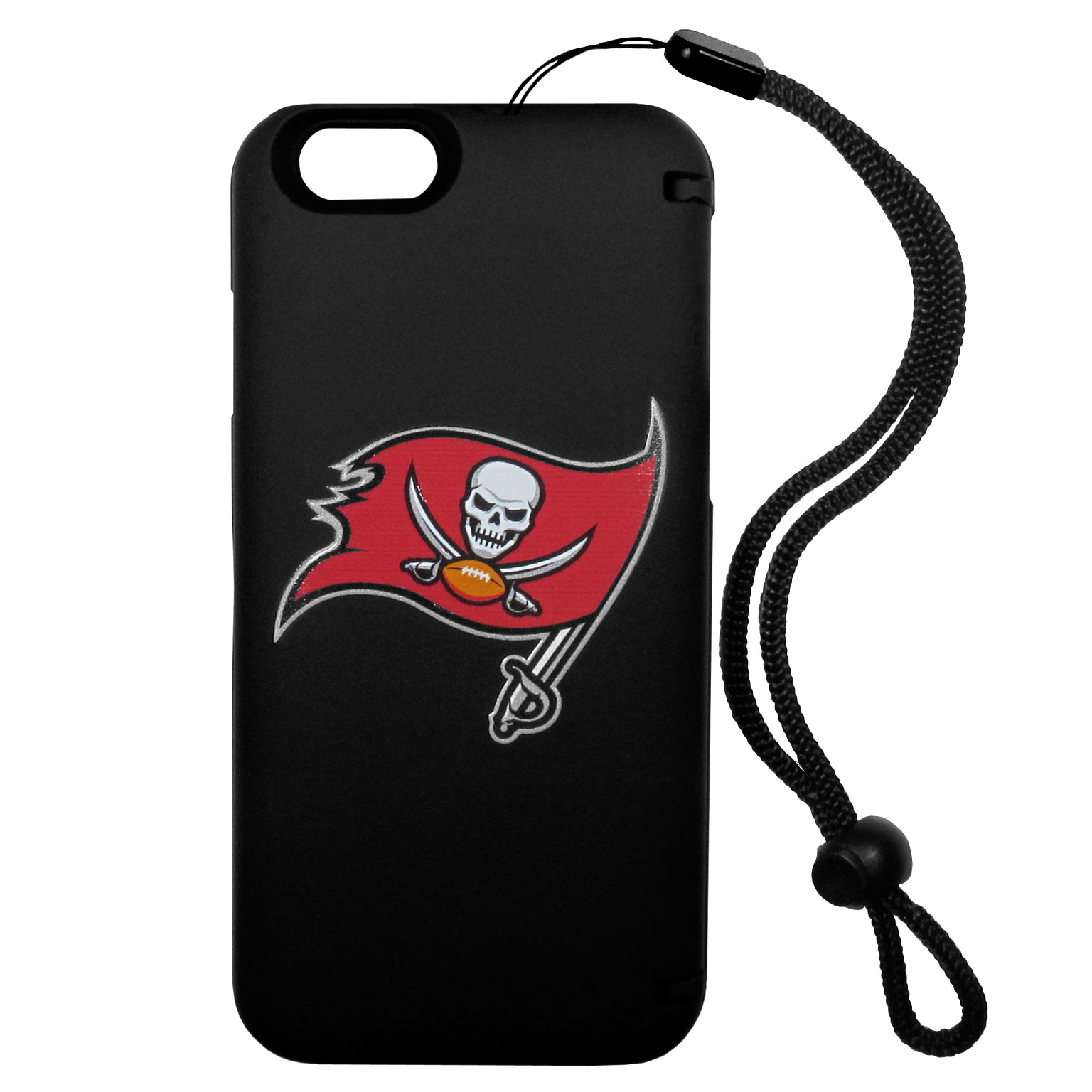 Tampa Bay Buccaneers iPhone 6 Everything Case - This case really does have everything but the kitchen sink! The hidden compartment lets you keep your cards, money and tickets to the big game safe and secure and has a compact mirror so you can make sure your game face is ready to go. It also comes with a kickstand to make chatting and watching videos a breeze. The wrist strap allows you to travel with ease with your everything case. If that's not enough, it also comes with the Tampa Bay Buccaneers logo printed in expert detail on the front.
