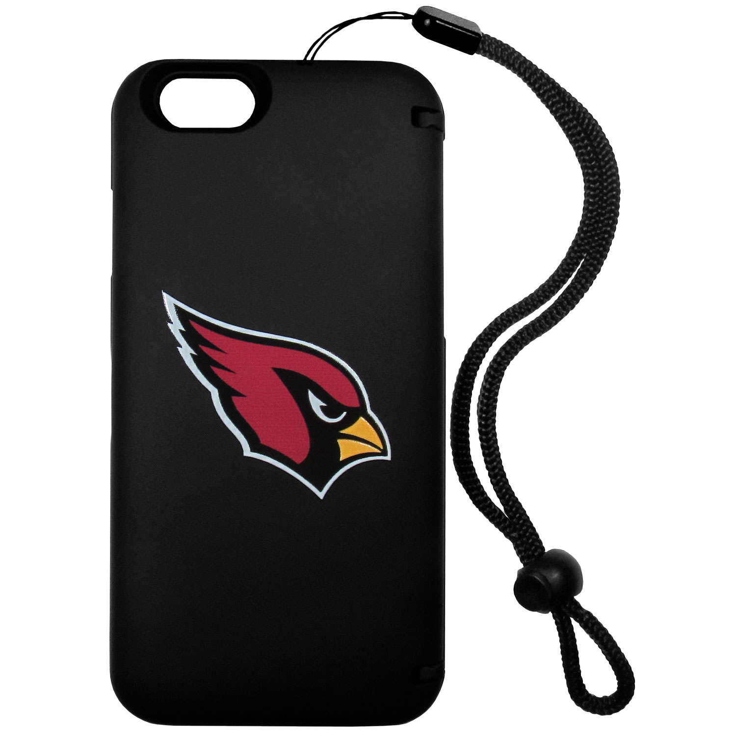 Arizona Cardinals iPhone 6 Everything Case - This case really does have everything but the kitchen sink! The hidden compartment lets you keep your cards, money and tickets to the big game safe and secure and has a compact mirror so you can make sure your game face is ready to go. It also comes with a kickstand to make chatting and watching videos a breeze. The wrist strap allows you to travel with ease with your everything case. If that's not enough, it also comes with the Arizona Cardinals logo printed in expert detail on the front.