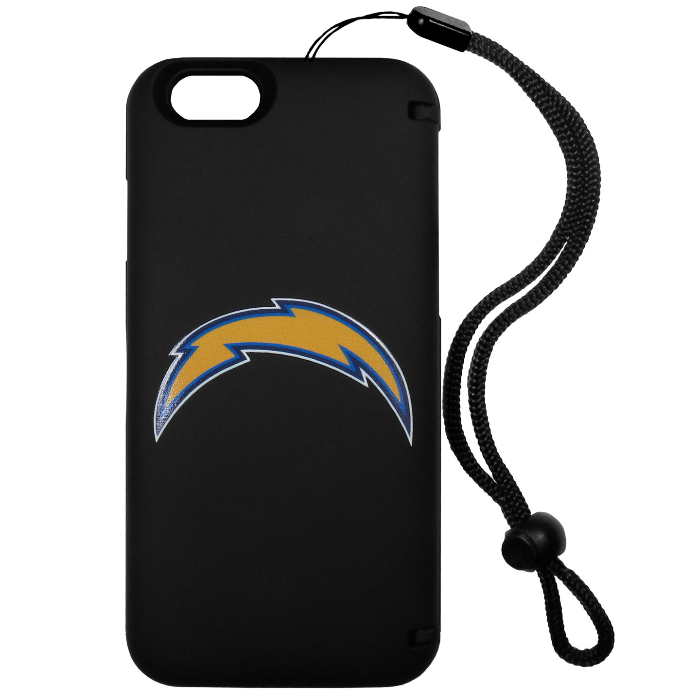 Los Angeles Chargers iPhone 6 Everything Case - This case really does have everything but the kitchen sink! The hidden compartment lets you keep your cards, money and tickets to the big game safe and secure and has a compact mirror so you can make sure your game face is ready to go. It also comes with a kickstand to make chatting and watching videos a breeze. The wrist strap allows you to travel with ease with your everything case. If that's not enough, it also comes with the Los Angeles Chargers logo printed in expert detail on the front.