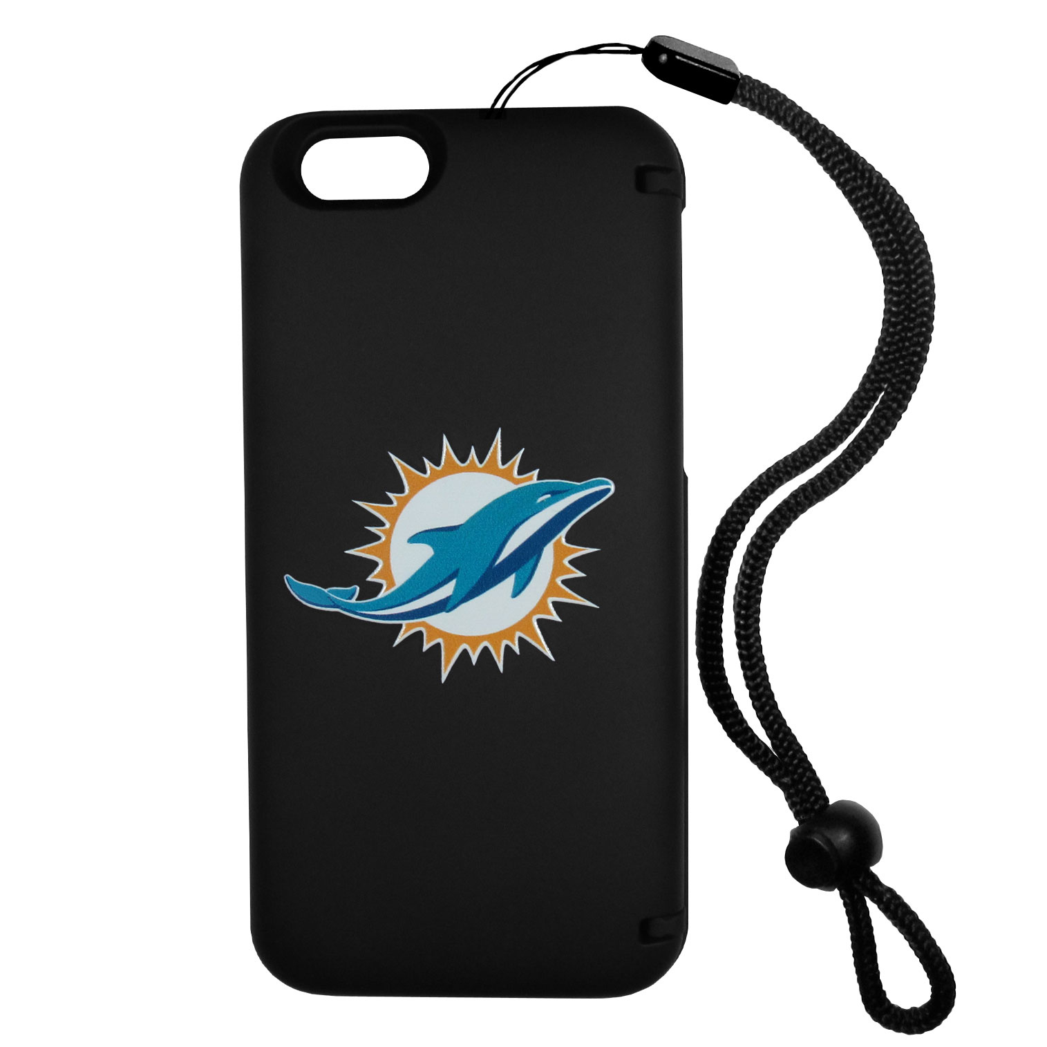 Miami Dolphins iPhone 6 Everything Case - This case really does have everything but the kitchen sink! The hidden compartment lets you keep your cards, money and tickets to the big game safe and secure and has a compact mirror so you can make sure your game face is ready to go. It also comes with a kickstand to make chatting and watching videos a breeze. The wrist strap allows you to travel with ease with your everything case. If that's not enough, it also comes with the Miami Dolphins logo printed in expert detail on the front.