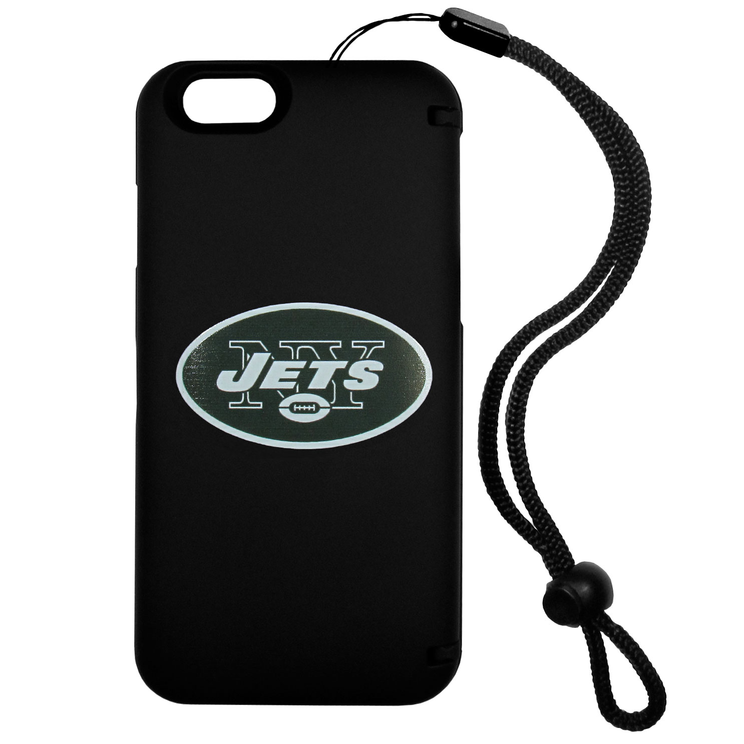 New York Jets iPhone 6 Everything Case - This case really does have everything but the kitchen sink! The hidden compartment lets you keep your cards, money and tickets to the big game safe and secure and has a compact mirror so you can make sure your game face is ready to go. It also comes with a kickstand to make chatting and watching videos a breeze. The wrist strap allows you to travel with ease with your everything case. If that's not enough, it also comes with the New York Jets logo printed in expert detail on the front.