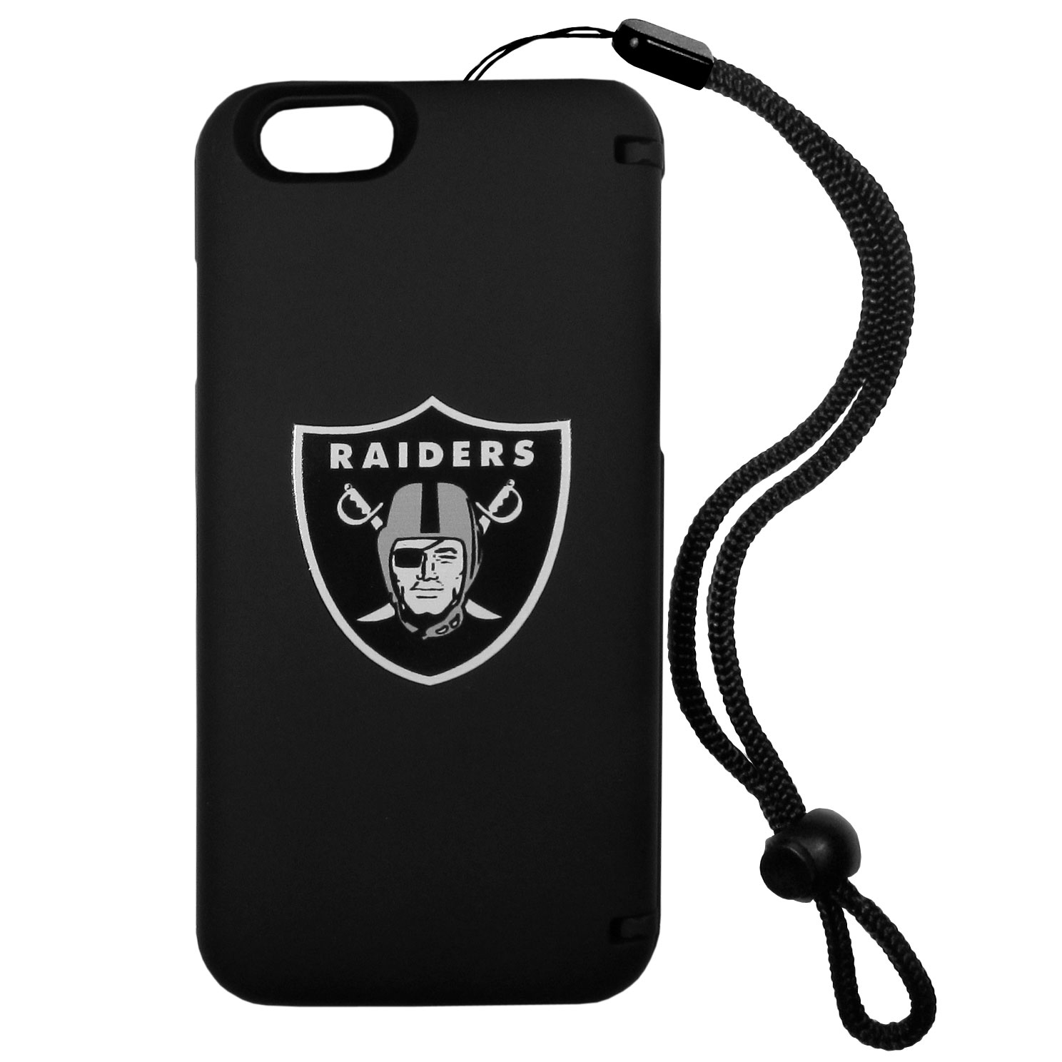 Oakland Raiders iPhone 6 Everything Case - This case really does have everything but the kitchen sink! The hidden compartment lets you keep your cards, money and tickets to the big game safe and secure and has a compact mirror so you can make sure your game face is ready to go. It also comes with a kickstand to make chatting and watching videos a breeze. The wrist strap allows you to travel with ease with your everything case. If that's not enough, it also comes with the Oakland Raiders logo printed in expert detail on the front.