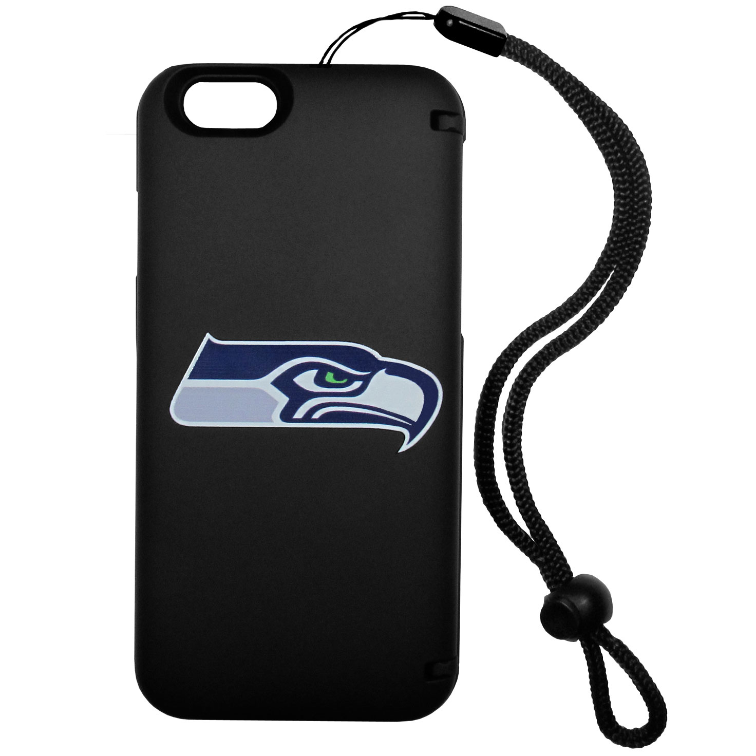 Seattle Seahawks iPhone 6 Everything Case - This case really does have everything but the kitchen sink! The hidden compartment lets you keep your cards, money and tickets to the big game safe and secure and has a compact mirror so you can make sure your game face is ready to go. It also comes with a kickstand to make chatting and watching videos a breeze. The wrist strap allows you to travel with ease with your everything case. If that's not enough, it also comes with the Seattle Seahawks logo printed in expert detail on the front.