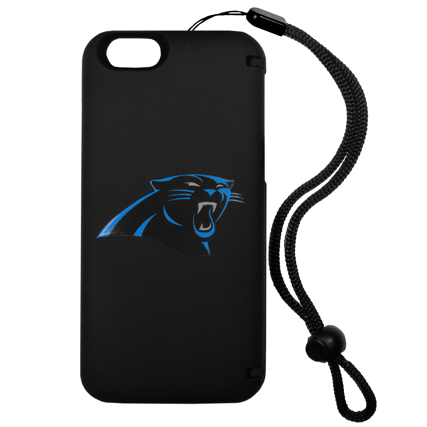 Carolina Panthers iPhone 6 Everything Case - This case really does have everything but the kitchen sink! The hidden compartment lets you keep your cards, money and tickets to the big game safe and secure and has a compact mirror so you can make sure your game face is ready to go. It also comes with a kickstand to make chatting and watching videos a breeze. The wrist strap allows you to travel with ease with your everything case. If that's not enough, it also comes with the Carolina Panthers logo printed in expert detail on the front.