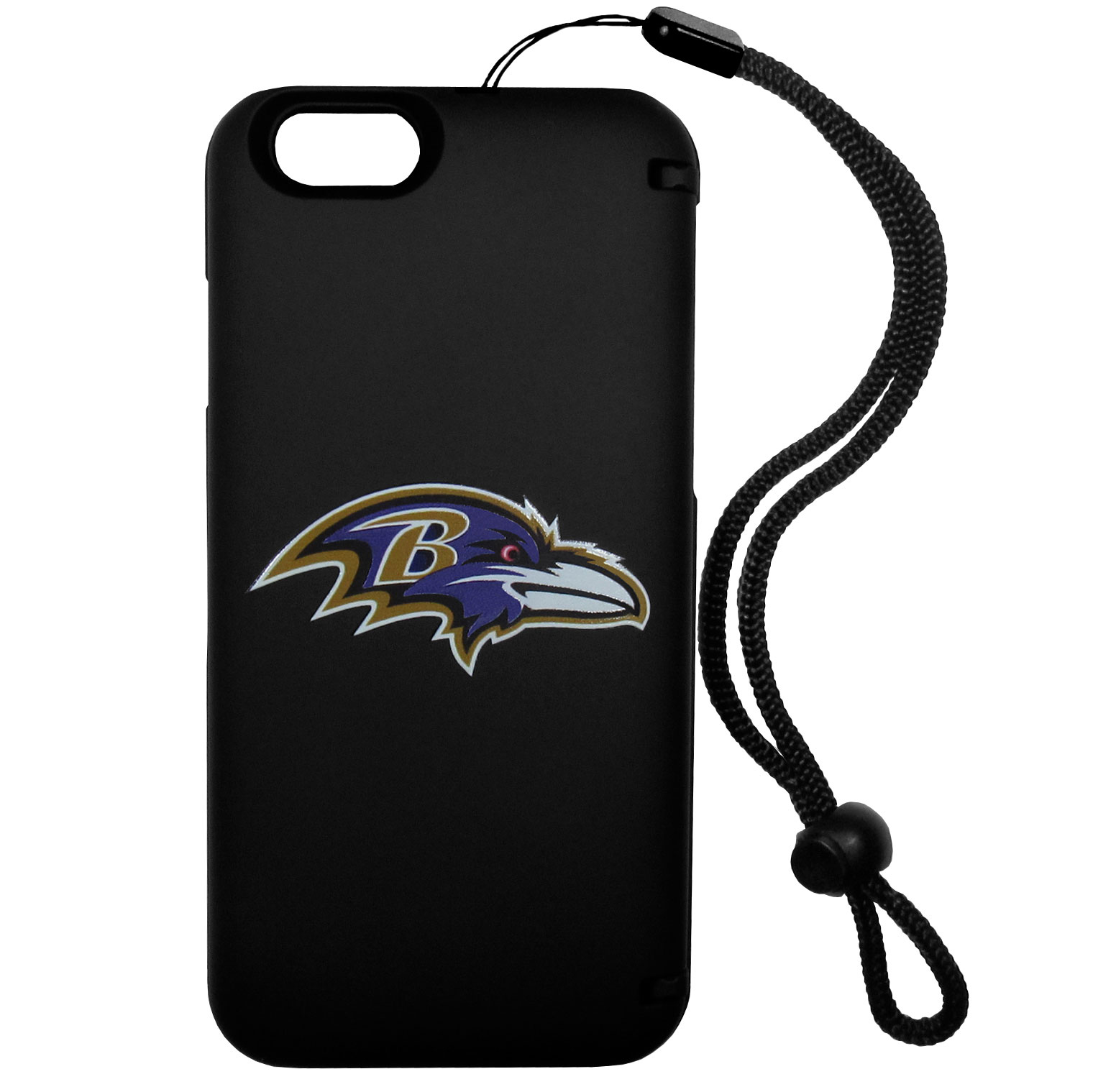 Baltimore Ravens iPhone 6 Everything Case - This case really does have everything but the kitchen sink! The hidden compartment lets you keep your cards, money and tickets to the big game safe and secure and has a compact mirror so you can make sure your game face is ready to go. It also comes with a kickstand to make chatting and watching videos a breeze. The wrist strap allows you to travel with ease with your everything case. If that's not enough, it also comes with the Baltimore Ravens logo printed in expert detail on the front.