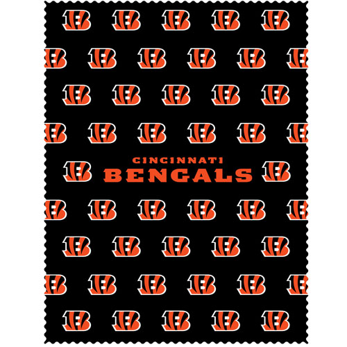 "Cincinnati Bengals iPad Microfiber Cleaning Cloth - Our NFL Cincinnati Bengals iPad microfiber cleaning cloth is great for keeping your iPad screen free of oil, dirt and smudges. The cloth is sized to perfectly fit the iPad screen so that it lays over it as added protection when the device is in a case. 7.5"" x 9.5"" cloth. Officially licensed NFL product Licensee: Siskiyou Buckle .com"