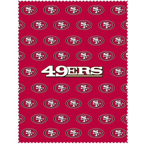 "San Francisco 49ers iPad Microfiber Cleaning Cloth - Our NFL San Francisco 49ers iPad microfiber cleaning cloth is great for keeping your iPad screen free of oil, dirt and smudges. The cloth is sized to perfectly fit the iPad screen so that it lays over it as added protection when the device is in a case. 7.5"" x 9.5"" cloth. Officially licensed NFL product Licensee: Siskiyou Buckle .com"