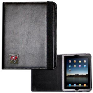 Tampa Bay Buccaneers iPad Case - The perfect iPad accessory. The black case hold the iPad 1 and the iPad 2 with Smart Cover and features a cast and enameled NFL Tampa Bay Buccaneers team emblem. Officially licensed NFL product Licensee: Siskiyou Buckle .com