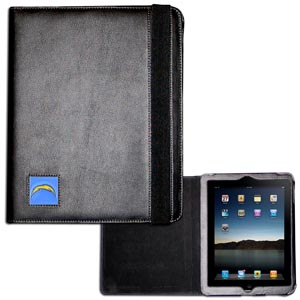 Los Angeles Chargers  iPad Case - The perfect iPad accessory. The black case hold the iPad 1 and the iPad 2 with Smart Cover and features a cast and enameled Los Angeles Chargers emblem. Officially licensed NFL product Licensee: Siskiyou Buckle .com