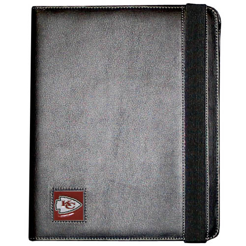 Kansas City Chiefs iPad 2 Case - The perfect iPad accessory. The black case fits the iPad 2 and iPad 3 and allows you to access all functions easily while the device remains in the case. The case features a cast and enameled Kansas City Chiefs team emblem. Officially licensed NFL product Licensee: Siskiyou Buckle Thank you for visiting CrazedOutSports.com