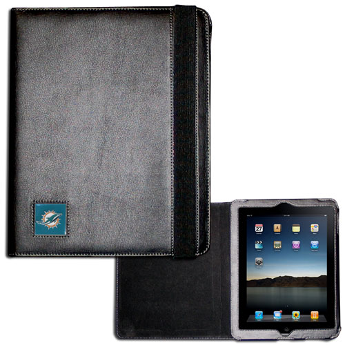 Miami Dolphins iPad Case - The perfect iPad accessory. The black case hold the iPad 1 and the iPad 2 with Smart Cover and features a cast and enameled NFL Miami Dolphins team emblem. Officially licensed NFL product Licensee: Siskiyou Buckle .com