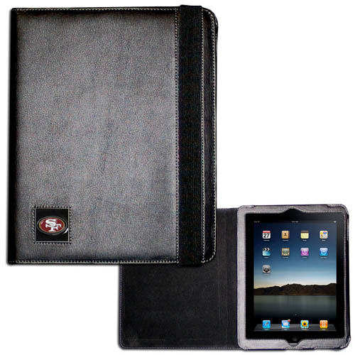 San Francisco 49ers iPad Case - The perfect iPad accessory. The black case hold the iPad 1 and the iPad 2 with Smart Cover and features a cast and enameled NFL San Francisco 49ers team emblem. Officially licensed NFL product Licensee: Siskiyou Buckle .com