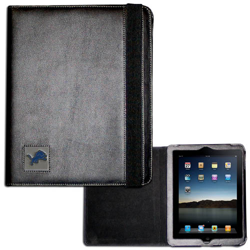 Detroit iPad Case - The perfect iPad accessory. The black case hold the iPad 1 and the iPad 2 with Smart Cover and features a cast and enameled NFL Detroit team emblem. Officially licensed NFL product Licensee: Siskiyou Buckle .com