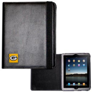 Green Bay Packers iPad Case - The perfect iPad accessory. The black case hold the iPad 1 and the iPad 2 with Smart Cover and features a cast and enameled NFL Green Bay Packers team emblem. Officially licensed NFL product Licensee: Siskiyou Buckle .com