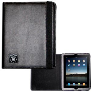 Oakland Raiders iPad Case - The perfect iPad accessory. The black case hold the iPad 1 and the iPad 2 with Smart Cover and features a cast and enameled NFL Oakland Raiders team emblem. Officially licensed NFL product Licensee: Siskiyou Buckle Thank you for visiting CrazedOutSports.com