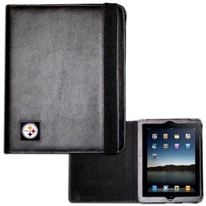 Steelers iPad Case - The perfect iPad accessory. The black case hold the iPad 1 and the iPad 2 with Smart Cover and features a cast and enameled NFL team emblem. Officially licensed NFL product Licensee: Siskiyou Buckle .com