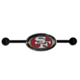 San Francisco 49ers Industrial Slider Barbell - Show off your love of the game with this officially licensed San Francisco 49ers industrial slider barbell. The 40mm barbell features an expertly designed team slider charm. Officially licensed NFL product Licensee: Siskiyou Buckle Thank you for visiting CrazedOutSports.com
