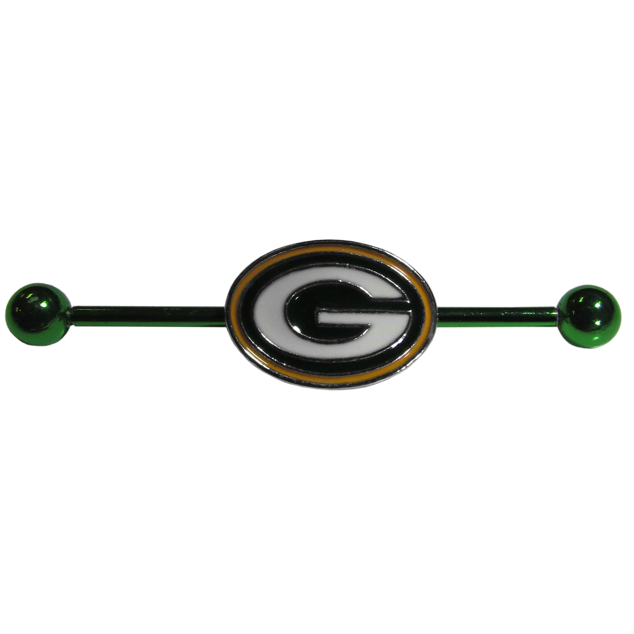 Green Bay Packers Industrial Slider Barbell - Show off your love of the game with this officially licensed.Green Bay Packers industrial slider barbell. The 40mm barbell features an expertly designed team slider charm