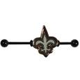 New Orleans Saints Industrial Slider Barbell -  Show off your love of the game with this officially licensed.New Orleans Saints industrial slider barbell. The 40mm barbell features an expertly designed team slider charm. Officially licensed NFL product Licensee: Siskiyou Buckle. !