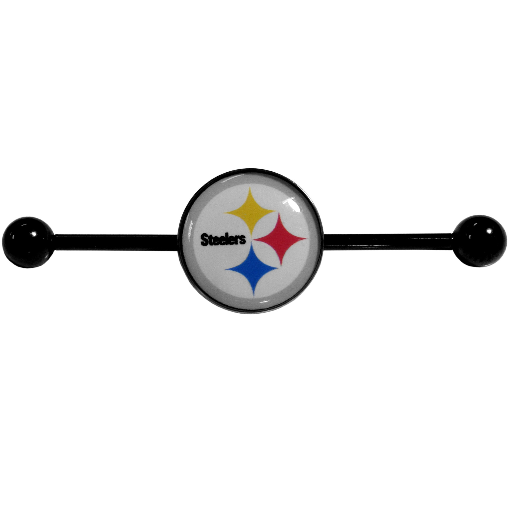 Pittsburgh Steelers Industrial Slider Barbell - Show off your love of the game with this officially licensed.Pittsburgh Steelers industrial slider barbell. The 40mm barbell features an expertly designed team slider charm