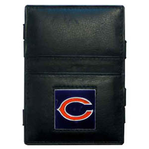 Chicago Bears Leather Jacob's Ladder Wallet - This innovative jacob's ladder wallet design traps cash with just a simple flip of the wallet! There are also outer pockets to store your ID and credit cards. The wallet is made of fine quality leather with an enameled Chicago Bears team emblem. Officially licensed NFL product Licensee: Siskiyou Buckle .com