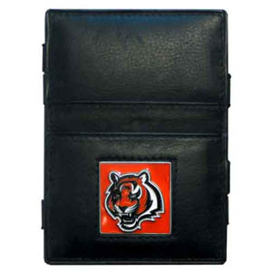 Cincinnati Bengals Leather Jacob's Ladder Wallet - This innovative jacob's ladder wallet design traps cash with just a simple flip of the wallet! There are also outer pockets to store your ID and credit cards. The wallet is made of fine quality leather with an enameled Cincinnati Bengals team emblem. Officially licensed NFL product Licensee: Siskiyou Buckle .com