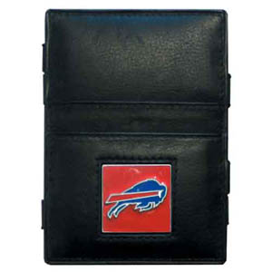 Buffalo Bills Leather Jacob's Ladder Wallet - This innovative jacob's ladder wallet design traps cash with just a simple flip of the wallet! There are also outer pockets to store your ID and credit cards. The wallet is made of fine quality leather with an enameled Buffalo Bills team emblem. Officially licensed NFL product Licensee: Siskiyou Buckle .com