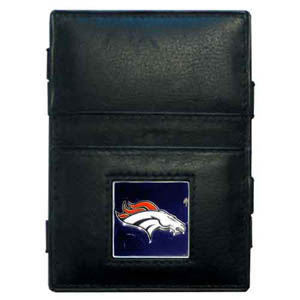 Denver Broncos Leather Jacob's Ladder Wallet - This innovative jacob's ladder wallet design traps cash with just a simple flip of the wallet! There are also outer pockets to store your ID and credit cards. The wallet is made of fine quality leather with an enameled Denver Broncos team emblem. Officially licensed NFL product Licensee: Siskiyou Buckle Thank you for visiting CrazedOutSports.com