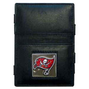 Tampa Bay Buccaneers Leather Jacob's Ladder Wallet - This innovative jacob's ladder wallet design traps cash with just a simple flip of the wallet! There are also outer pockets to store your ID and credit cards. The wallet is made of fine quality leather with an enameled Tampa Bay Buccaneers team emblem. Officially licensed NFL product Licensee: Siskiyou Buckle .com