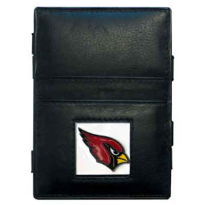 Arizona Cardinals Leather Jacob's Ladder Wallet - This innovative jacob's ladder wallet design traps cash with just a simple flip of the wallet! There are also outer pockets to store your ID and credit cards. The wallet is made of fine quality leather with an enameled Arizona Cardinals team emblem. Officially licensed NFL product Licensee: Siskiyou Buckle .com
