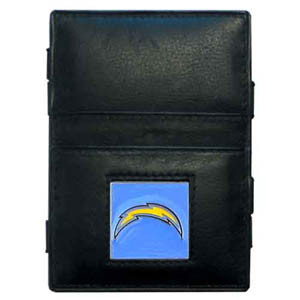Los Angeles Chargers Leather Jacob's Ladder Wallet - This innovative jacob's ladder wallet design traps cash with just a simple flip of the wallet! There are also outer pockets to store your ID and credit cards. The wallet is made of fine quality leather with an enameled Los Angeles Chargers emblem. Officially licensed NFL product Licensee: Siskiyou Buckle .com