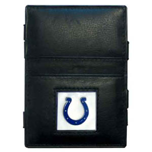 Indianapolis Colts Leather Jacob's Ladder Wallet - This innovative jacob's ladder wallet design traps cash with just a simple flip of the wallet! There are also outer pockets to store your ID and credit cards. The wallet is made of fine quality leather with an Indianapolis Colts enameled team emblem. Officially licensed NFL product Licensee: Siskiyou Buckle Thank you for visiting CrazedOutSports.com