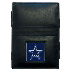 Dallas Cowboys Leather Jacob's Ladder Wallet - This innovative jacob's ladder wallet design traps cash with just a simple flip of the wallet! There are also outer pockets to store your ID and credit cards. The wallet is made of fine quality leather with an enameled Dallas Cowboys team emblem. Officially licensed NFL product Licensee: Siskiyou Buckle Thank you for visiting CrazedOutSports.com