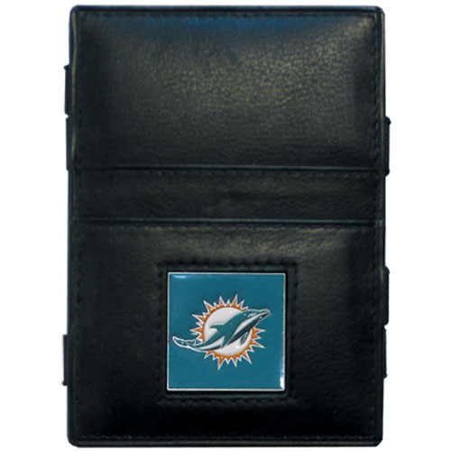Miami Dolphins Leather Jacob's Ladder Wallet - This innovative jacob's ladder wallet design traps cash with just a simple flip of the wallet! There are also outer pockets to store your ID and credit cards. The wallet is made of fine quality leather with an enameled Miami Dolphins team emblem. Officially licensed NFL product Licensee: Siskiyou Buckle Thank you for visiting CrazedOutSports.com